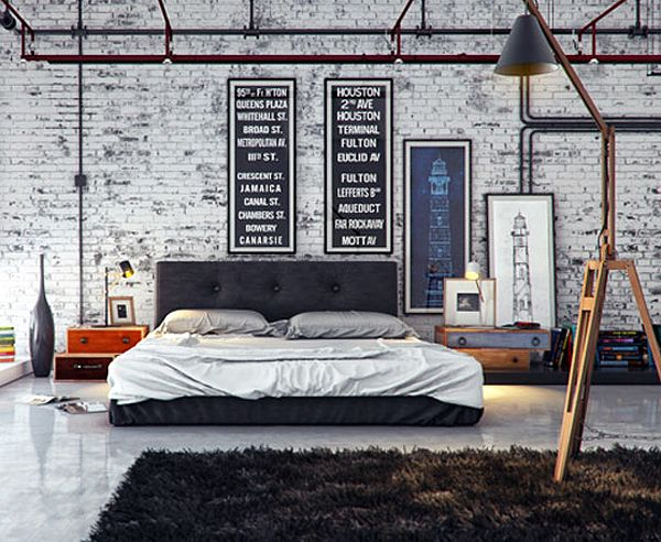 Stoere Hanglamp Slaapkamer : Industriele slaapkamer inrichting industrielelampen
