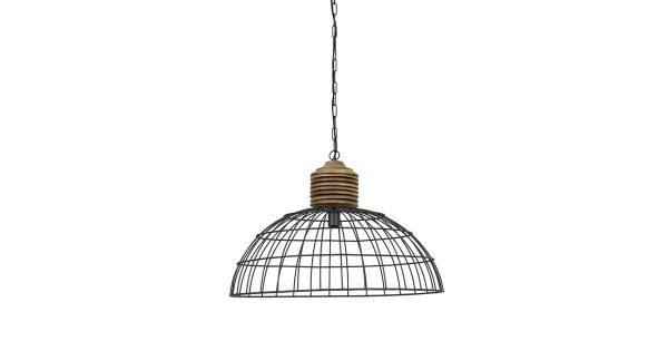 Hanglamp GABRIELLE – industrieel grijs kop hout – L