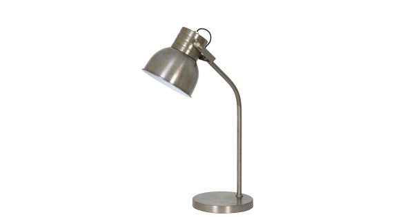 Tafellamp KANE – vintage zilver/glans wit