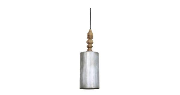 Hanglamp SAFIA – Antiek-zilver met donker houten kop – M