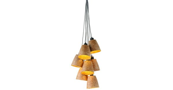 #Hanglamp houtsnippers Sequoia//7-kap naturel