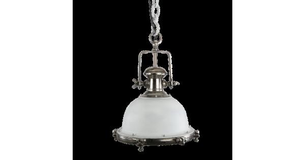 Hanglamp Toscane 40 cm wit met ruw nickel