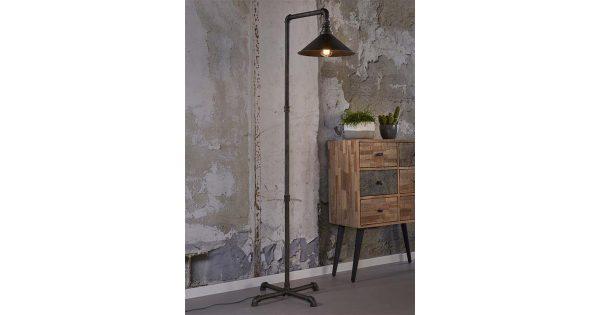 Vloerlamp industrial tube tapse kap / Oud zilver