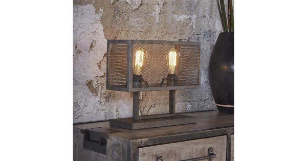 Tafellamp rechthoek raster met 2 lampen / Oud zilver