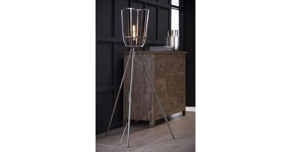 Vloerlamp Ø30 basket driepoot / Antiek Nikkel