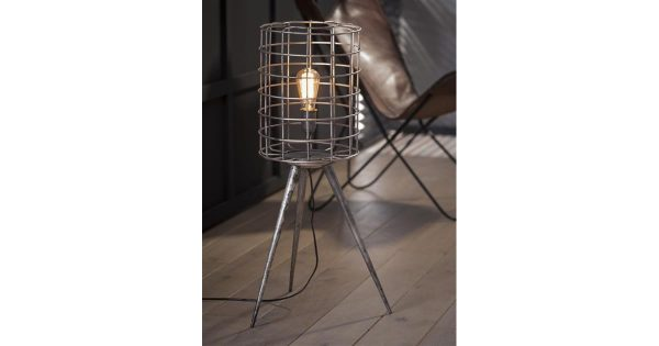 Vloerlamp korf metalen driepoot / Oud zilver
