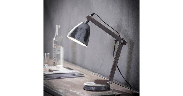 Tafellamp iron houten staander / Grijs