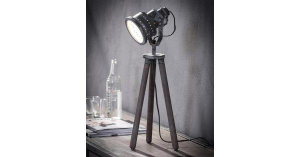 Tafellamp iron houten driepoot / Grijs
