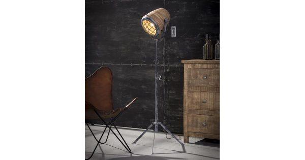 Vloerlamp iron houten kap XL / Massief mango naturel
