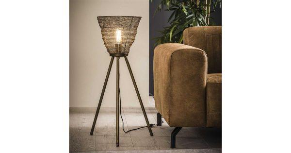 Vloerlamp Ø30 mesh driepoot / Brons antiek
