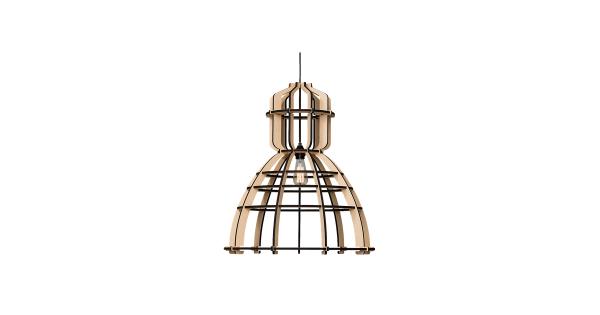 Het Lichtlab No.19 Hanglamp Industrieel XL – Hout