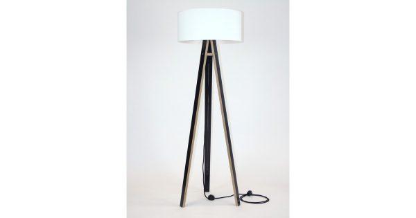 Lamp Wanda zwart multiplex met witte kap en zwarte kabel